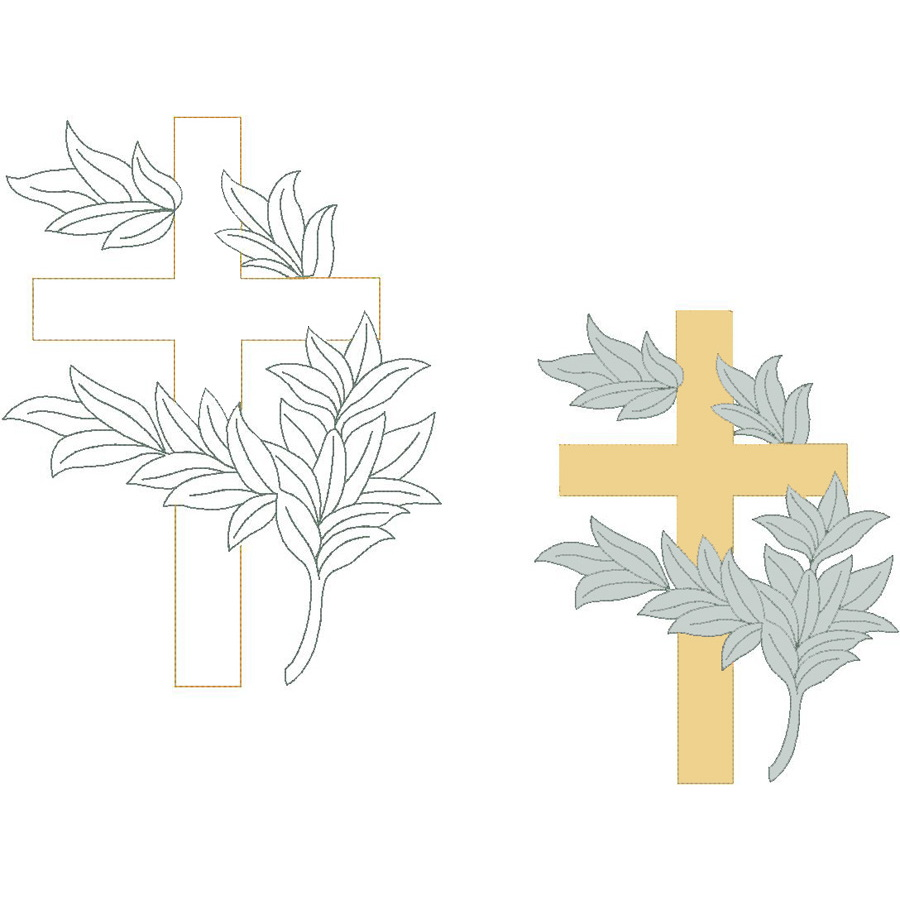 Cross w/Leaves (Trapunto)