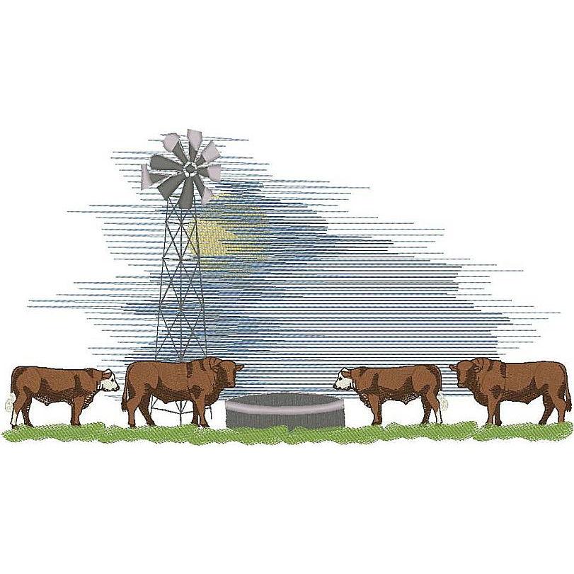 Cattle Scene - Full Color