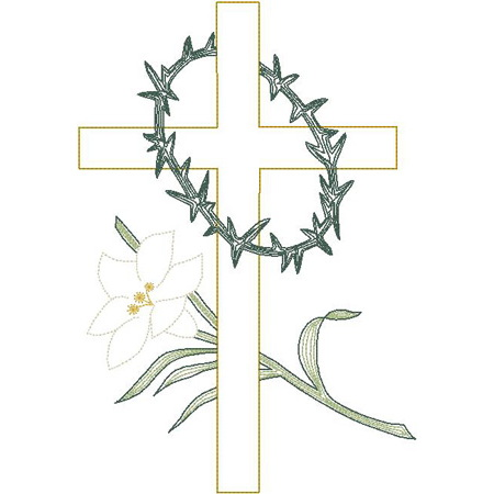 Cross w/Thorns & Lily (Trapunto)