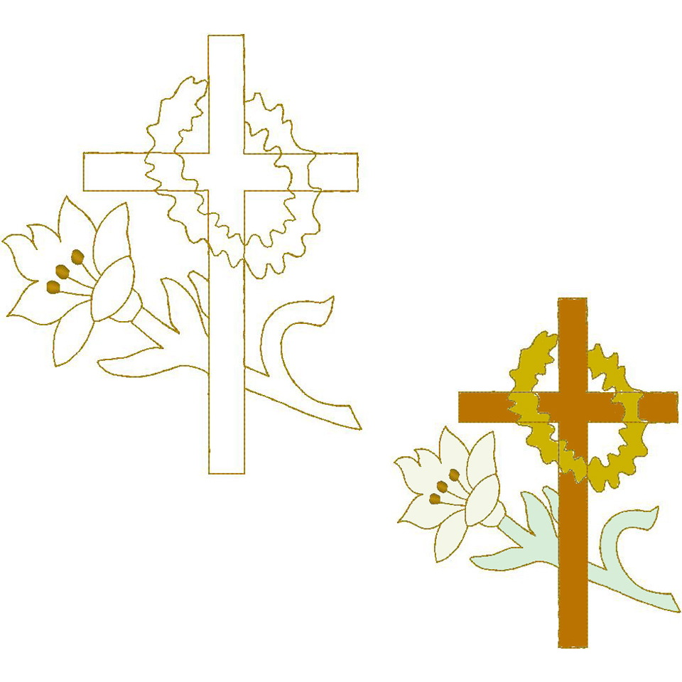 Cross/Lily/Crown (Trapunto)