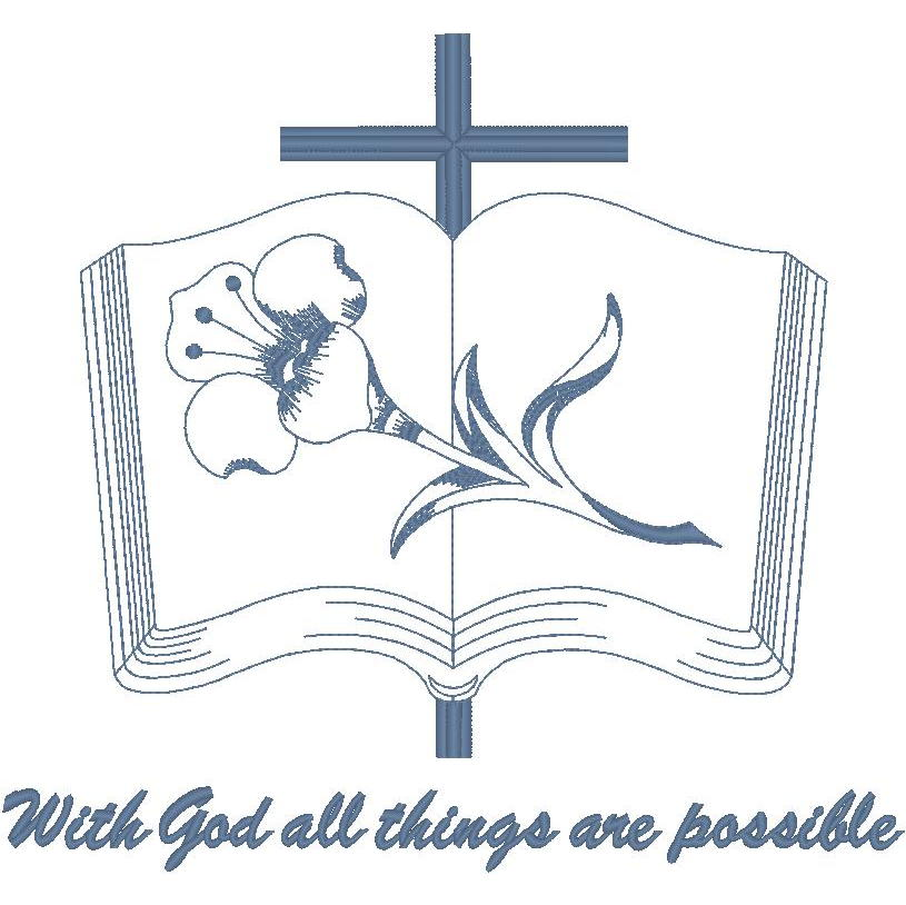 Bible, Cross & Lily/With God all...