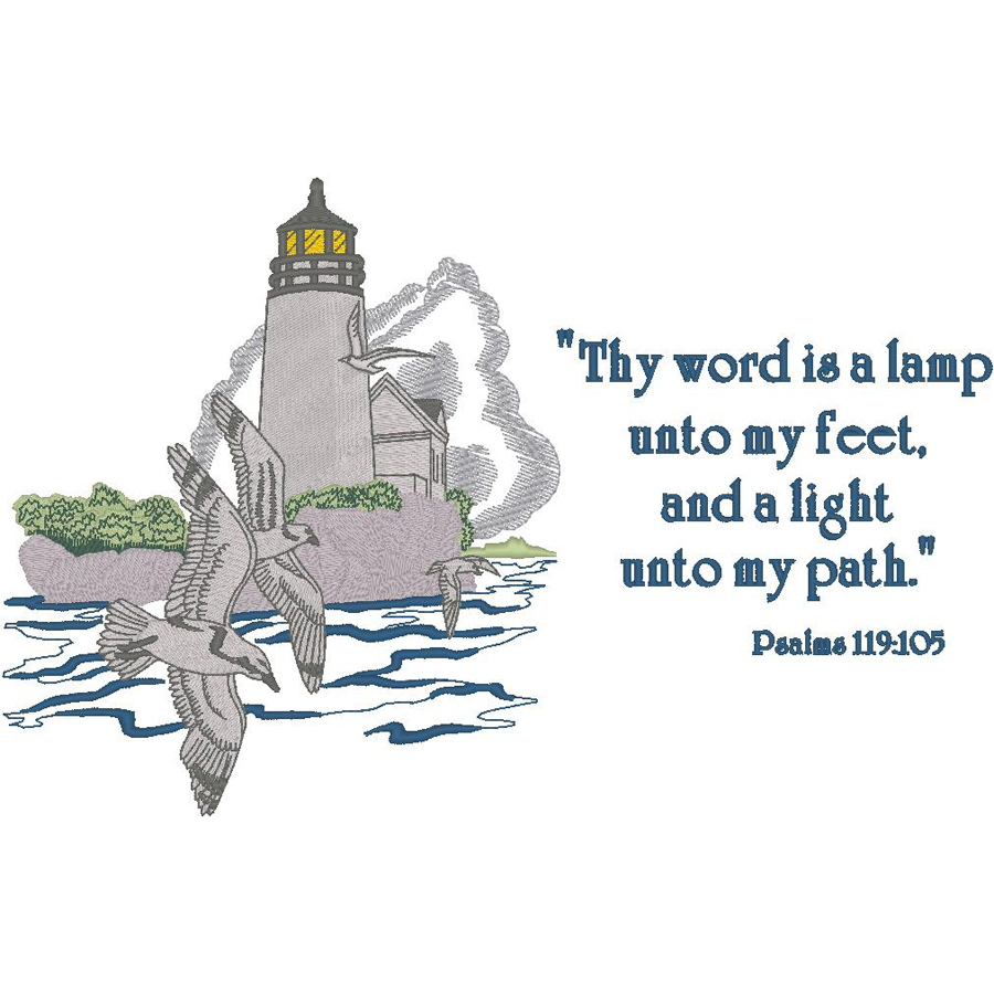 Lighthouse w/Seagulls - Psalm 119:105