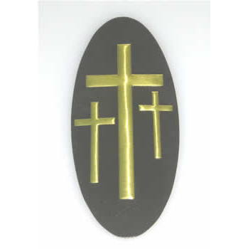 A-18 3-Cross Decal,Brown/Gold Crosses