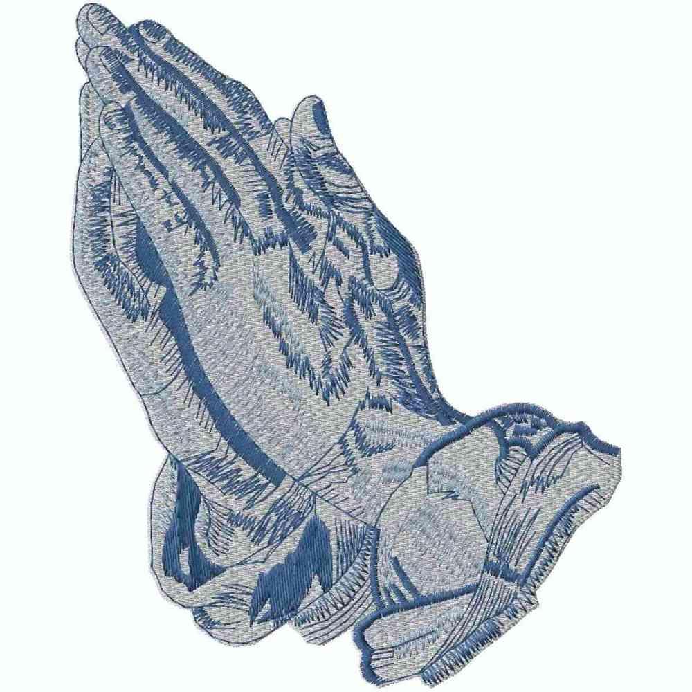 2-Tone Praying Hands, Blue, Applique