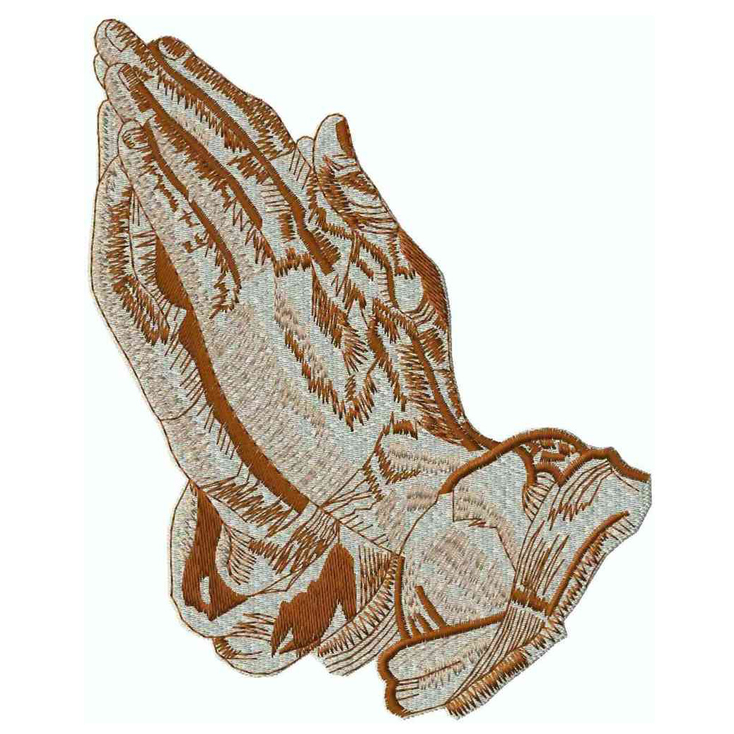 2-Tone Praying Hands, Brown, Applique