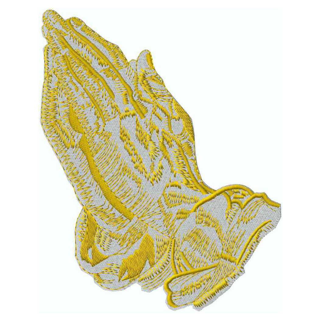 2-Tone Praying Hands, Gold Met, Applique