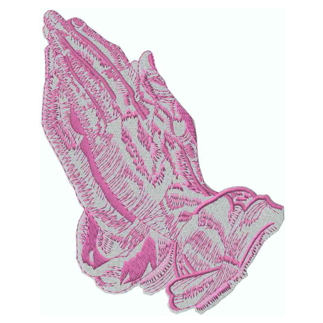 2-Tone Praying Hands, Pink Applique