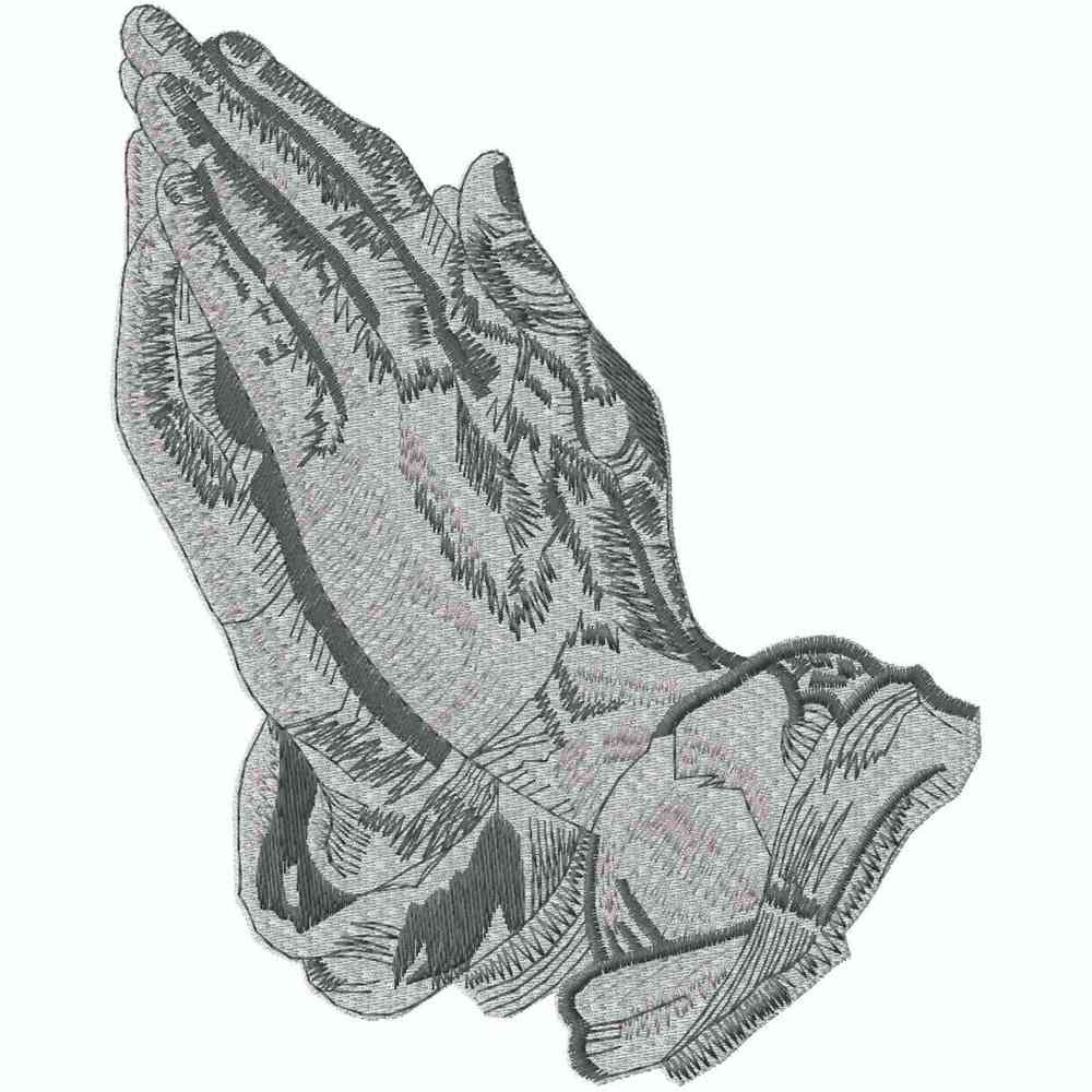 2-Tone Praying Hands, Silver, Applique