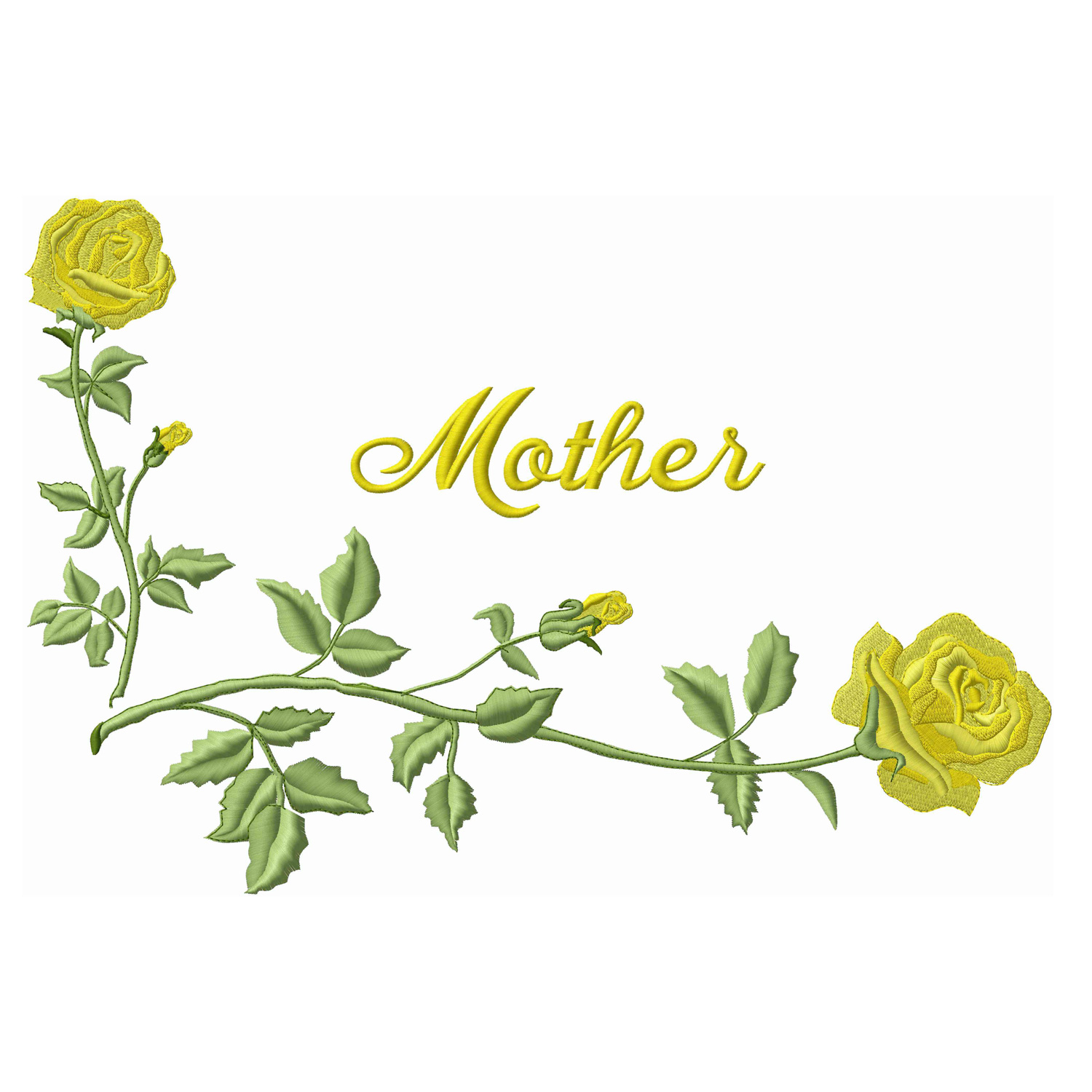 Corner Roses / Mother-Yellow (Applique)