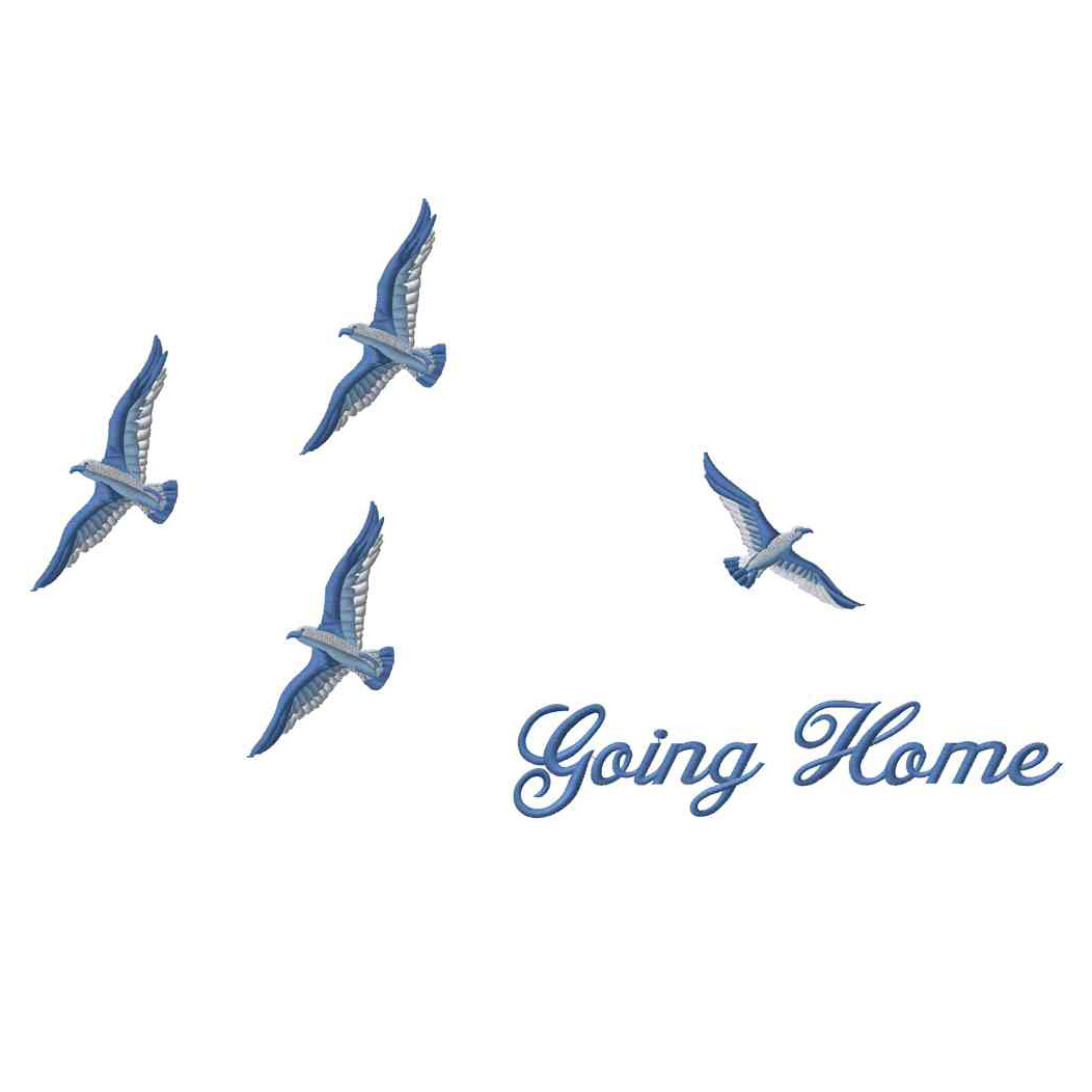 Birds Going Home, Blue, Applique