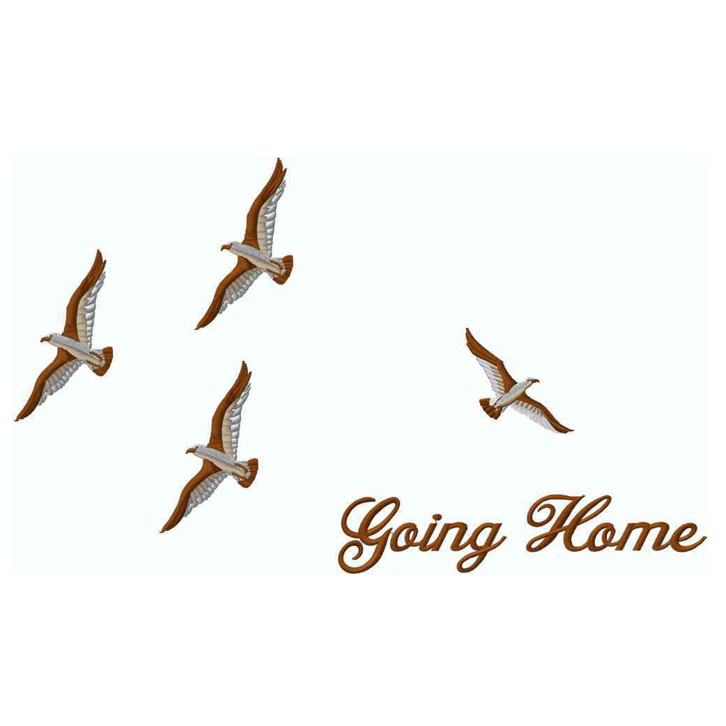 Birds Going Home, Brown, Applique