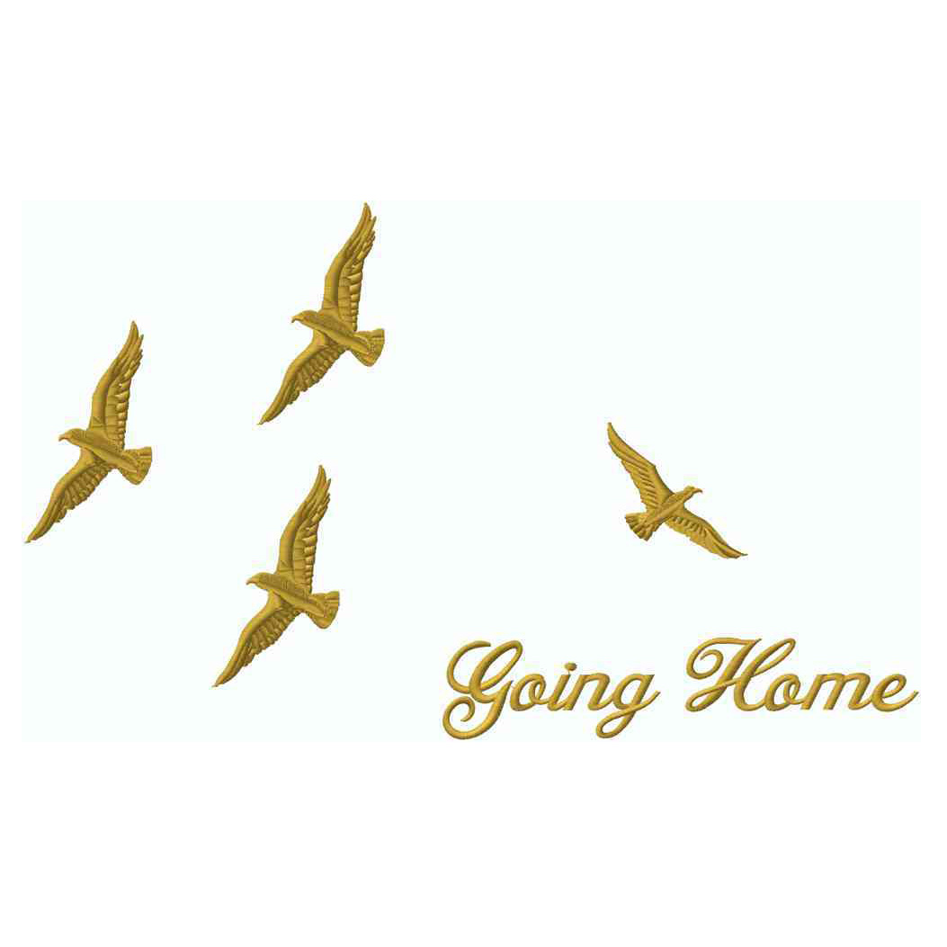 Birds Going Home, Gold Met., Applique