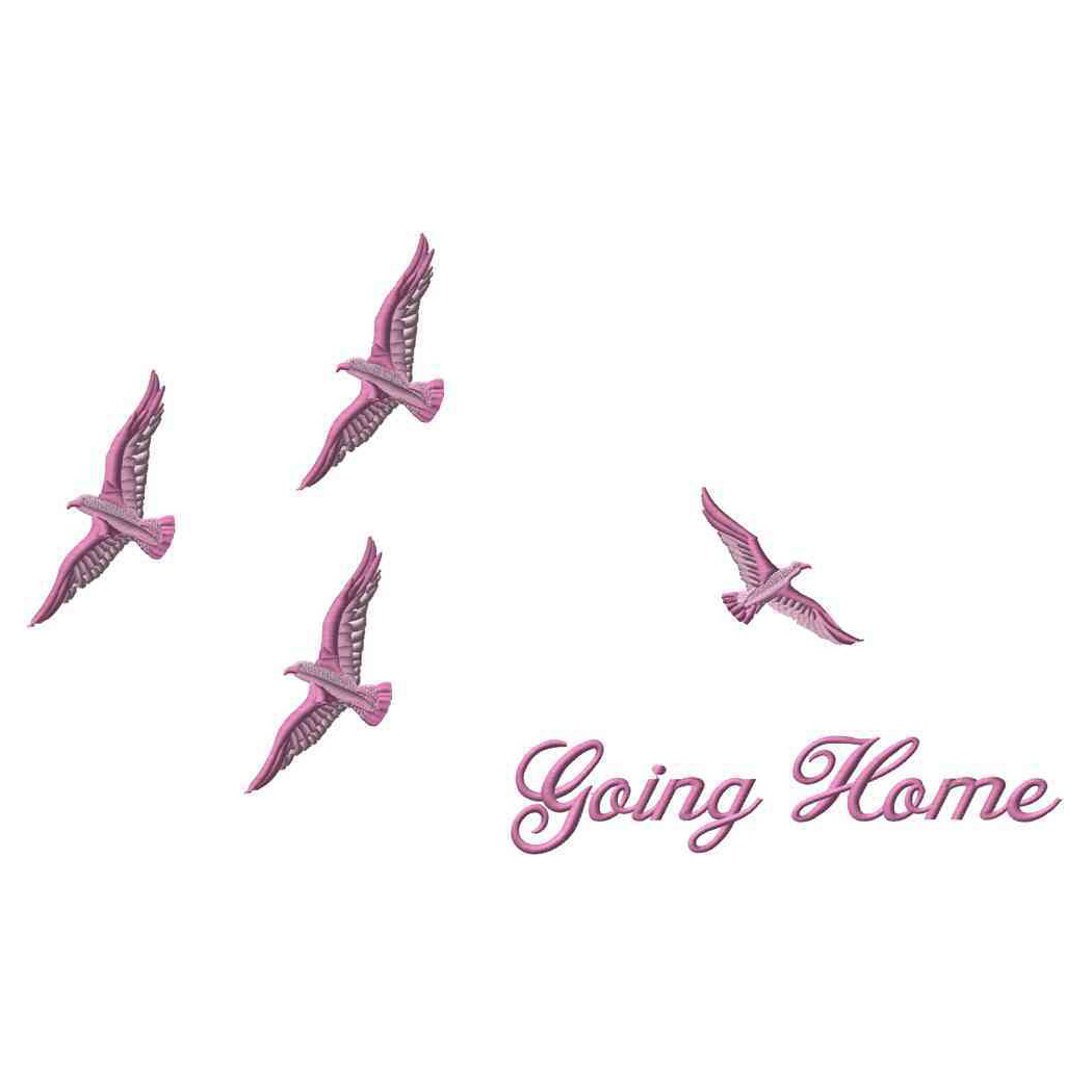 Birds Going Home, Pink, Applique