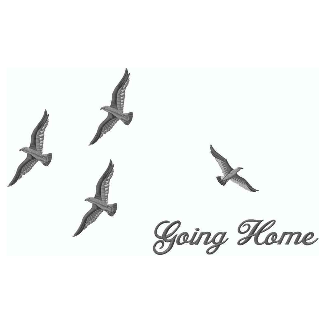 Birds Going Home, Silver, Applique
